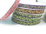 "Jacquard Ribbon 1"" Metallic Leaves  Priced Per 3 yards & Up  Woven Jacquard Ribbon with Metallic  6 colorways"