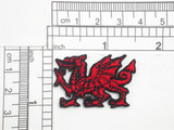 "Welsh Dragon Mini Embroidered Iron On Patch Applique Fully Embroidered in Red Rayon Thread, Outlined in Black Measures 1 1/2"" across x 1"" high"