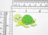 """Sea Turtle Patch Iron On Embroidered Applique 1 5/8"""" x 1 1/8""""  Embroidered on White Sateen Backing  Measures 1 5/8"""" x 1 1/8"""" approximately"""