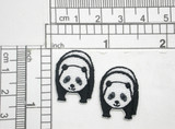 """2 x Mini Panda Patch Iron On Embroidered Applique  Fully Embroidered  Measures 11/16"""" x 15/16""""  (17mm x 24mm)"""