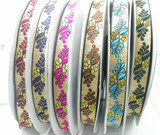 """Jacquard Ribbon 1"""" Floral Leaf on Gold  Priced Per 3 yards & Up      Woven Jacquard Ribbon with Metallic  6 colorways"""