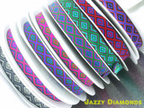 "Jacquard Ribbon 1"" Jazzy Diamomds  Priced Per 3 yards & Up"