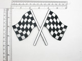 "Checkered Flag Large 6""x 4 1/4"" Iron On Embroidered Applique  Fully Embroidered in Rayon Thread Measures 6"" across x 4 1/4"" high   (152mm x 108mm)"