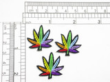 "Marijuana Pot Leaf  1"" 25mm Rainbow Iron On Patch Applique   Small Measures 1"" x 1"""