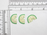 """3 x Lime Slice Iron On Patch Applique  Fully Embroidered  Measures 5/8"""" high x 7/8"""" wide approximately"""