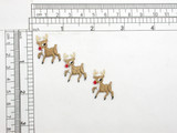 """3 x Rudolph Reindeer Mini Iron On Patch Appliques Fully Embroidered  Measures 1"""" wide x 1"""" high (25mm X 25mm)"""