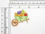 """Wheelbarrow with Fall Harvest Embroidered Iron On Patch Applique  Measures 1 5/8"""" tall x 2"""" wide"""