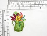 """Watering Can with Fall Leaves Embroidered Iron On Patch Applique  Measures 2"""" tall x 1 5/8"""" wide (50mm x 41mm)"""