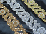"Beaded Border Embroidered  2 3/4"" (70mm) Silver Gold or Copper Per Meter"