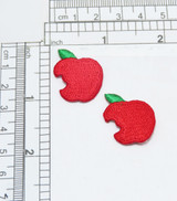 "Apple Bite Embroidered Applique 2 Pack  Fully Embroidered   Measures 1"" high x 7/8"" wide approximately"