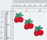 """Mini Cherry Embroidered Applique 3 pack Measures 5/8"""" across x 3/4"""" high"""