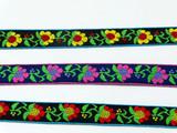 "Jacquard Ribbon 3/4"" 19mm Spring Flowers Priced per Yard    Cotton Poly Jacquard"