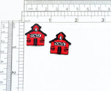"""School House Mini Iron On Applique 2 pack Fully Embroidered   Measures 7/8"""" high x 7/8"""" wide approximately"""
