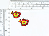 """Mini Watering Can Iron on Appliques 2 Pack Fully Embroidered  measures 3/4"""" across x 1"""" high"""