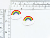 """Rainbow on Cloud Iron on Patch 2 Pack Fully Embroidered with Rayon Threads  Measures 7/8"""" high x 1"""" wide approximately"""