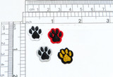 """Paw Print Mini 9/16"""" Iron on Applique 5 Pack Embroidered Border on an Acetate """"Sateen"""" Backing with Black Embroidered pad Measures 9/16"""" across x 9/16"""" high"""