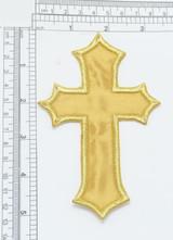 Cross Large Satin Gold Iron On