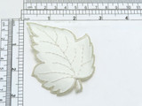 """Leaf White & Silver Iron On Applique  Embroidered Border and vein detail on a white backing Measures 3 1/4"""" across x 2 5/8"""" high"""
