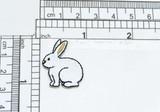 """Bunny Rabbit White Iron on Mini Applique  7/8"""" x 1-1/4"""""""