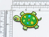 """Children's Turtle Shimmery Face & Feet  Embroidered on Green Shimmery Backing  measures 2"""" x 1 3/8""""    (51mm x 35mm)"""