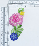 """Flower Spray Pink Rose Iron On Cottage Garden   Highly Detailed Embroidered Applique - Iron On  Measures 3 7/8"""" x 1 7/8"""""""