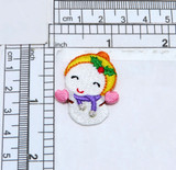 """Christmas Snowbaby Snowman Fully Embroidered  Measures 1 1/8"""" wide x 1 3/8"""" high"""