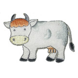 """Iron On Patch Applique - Terry Cow  Measures 3"""" across x 2 1/8"""" high"""