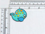 """Children's Blue Whale Shimmery Applique  Embroidered On Shimmery Background Measures 1 3/4"""" across x 1 1/4"""" high approx"""