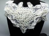 """Off white sparkle yoke applique with holo sequins  11"""" x  7 1/2""""      Offered also in bulk packs"""