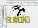 """Bowling World Ten Pin Iron On Embroidered Patch  Measures 3 1/8"""" across x 2 5/8"""" high"""
