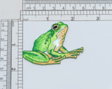 """Tree Frog Green Shiny Iron on Applique   Measures 1 3/4"""" high x 2 3/8"""" wide approximately"""