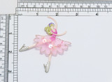 """Ballerina with Sequin Tutu Embroidered Iron On Patch Applique   Embroidered on Sheer Backing  with Rayon & Metallic Threads & Sequin detailing on the Tutu  Measures 3"""" high x 2 1/4"""" wide approximately  (76mm x 56mm)"""