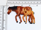 """Horse Mare & Foal Iron On Applique Measures 3 1/2"""" across x 2 3/8"""" high  Fully Embroidered"""