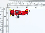 """Biggles Style Prop Plane Red Iron On Applique  Measures 2 1/4"""" across x 1 1/4"""" tall"""