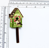 """Birdhouse with Finches Iron On Applique  Highly detailed Embroidered Iron on Applique Measures 4"""" high x 1 5/8"""""""