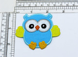 """Blue Owl Iron On Embroidered Applique  Measures 2 5/8"""" across x 2 1/4"""" high"""