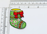 """Christmas Stocking Shimmery Sequin Iron On Applique  Embroidered in Rayon Threads on Felt  Measures 1 5/8"""" across x 2 1/8"""" high"""