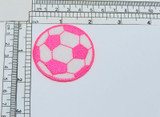 Soccer Ball Embroidered Applique Pink & White