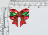 """Sequin Christmas Holiday Bow  Iron On Applique Embroidered and detailed with sewn on sequins - sparkly!! Measures 2"""" across x 2"""" high"""