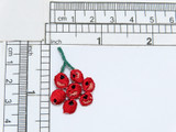 """Redcurrant Iron On Applique  Fully Embroidered  Measures 7/8"""" x 1 3/8"""""""