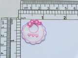 """Baby Bib Pink Iron On Applique  Embroidered with Rayon Threads  measures  1 1/8"""" high x 1 1/16"""" wide"""
