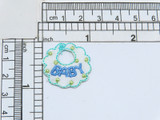 """Baby Bib Blue Iron On Applique  Embroidered with Rayon Threads  measures  1 1/8"""" high x 1 1/16"""" wide"""