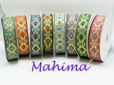"Jacquard Ribbon 1 1/2"" (38mm) Mahima *Colors* Priced Per Yard"