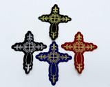 """Cross Fleur de Lys Woven iron on Applique 3 7/16"""" high"""