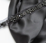 Black Sheer Heavily Beaded Trim Per Yard  The Beads are wooden and plastic