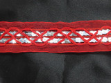 """Red Sheer  1 1/2"""" 38mm Trim with Silver Sequins Per Yard"""