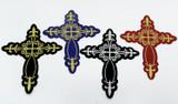 Cross Fleur de Lys Woven iron on Applique  (149mm x 124mm)
