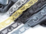 """Schliffi Lace 1 1/2"""" 38mm Metallic with Sequins per Meter  Available in Black Gold & Gunmetal."""