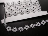 "Venise Lace 5/8"" (16mm) White Black Daisy 10 yards"