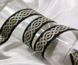 """Jacquard Ribbon 1 1/8"""" (28.5mm) Celtic Silver & Gold"""